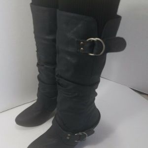 CHARLOTTE RUSSE BLACK SLOUCH HIGH HEEL BOOTS